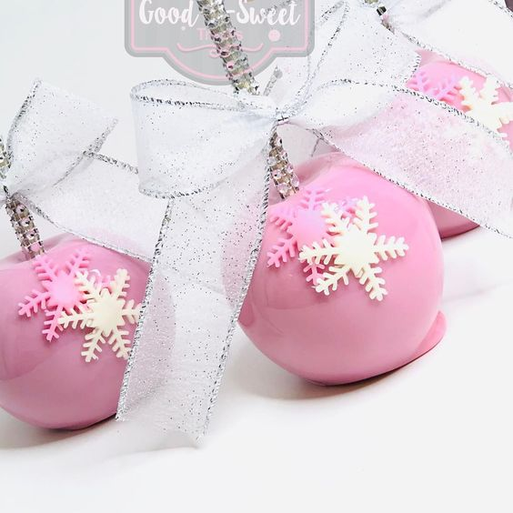 winter baby shower candy apples
