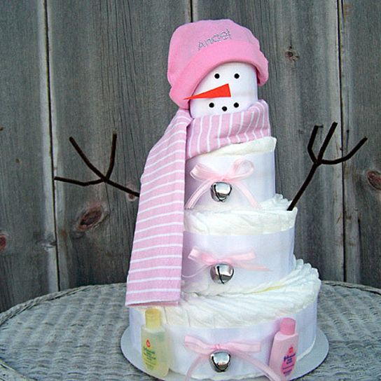 winter baby shower pink snowman diaper cake