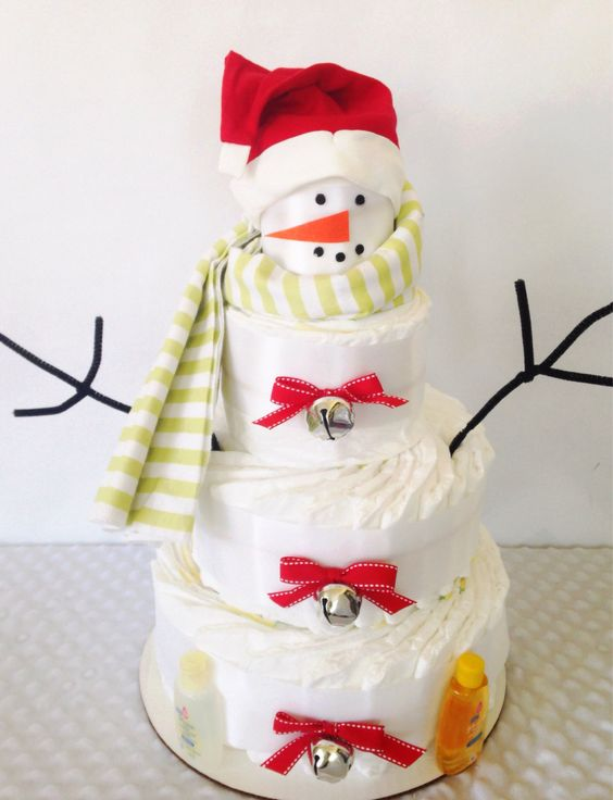 winter baby shower red snowman diaper cake