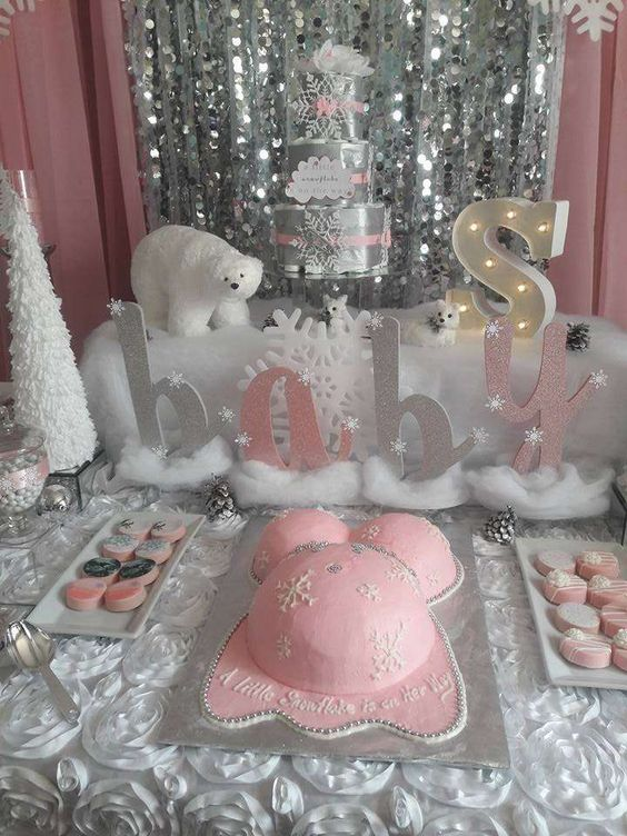 winter baby shower snowflakes