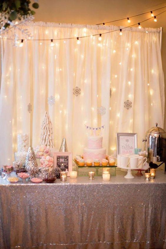winter baby shower string lights
