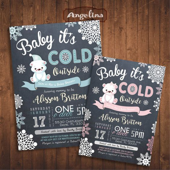 winter baby shower teddy bear invite