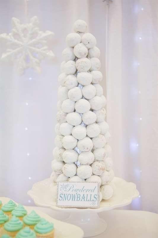 winter baby shower snowball doughnuts