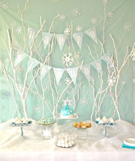winter baby shower twigs and bunting