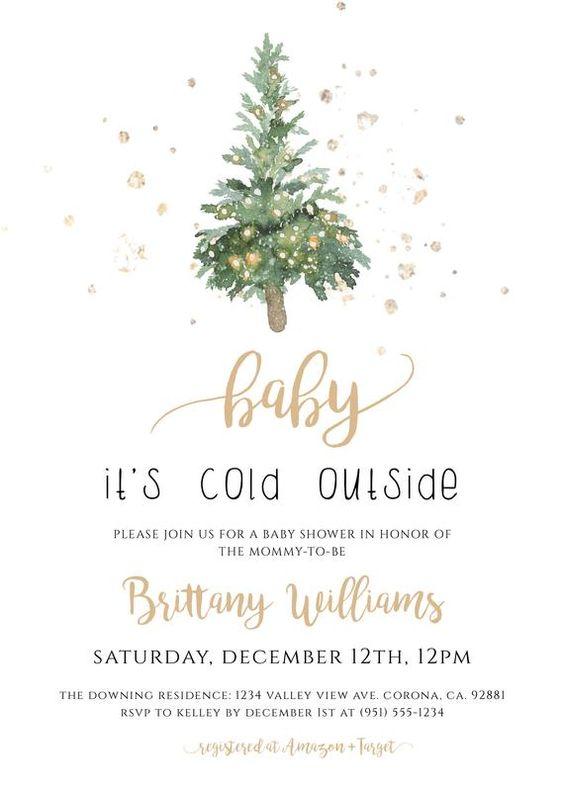 winter baby shower white gold invite