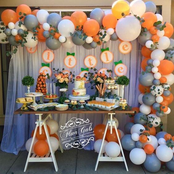 baby shower themes orange