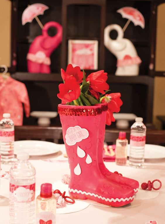 spring baby shower red boots