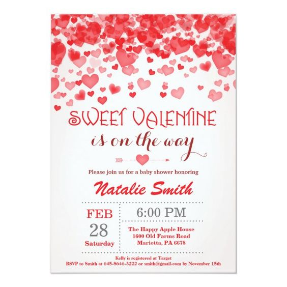 valentines day baby shower red hearts invite