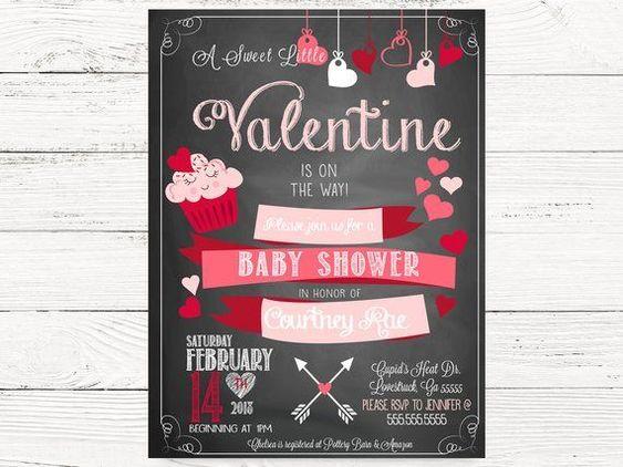 valentines day baby shower cupcake invite