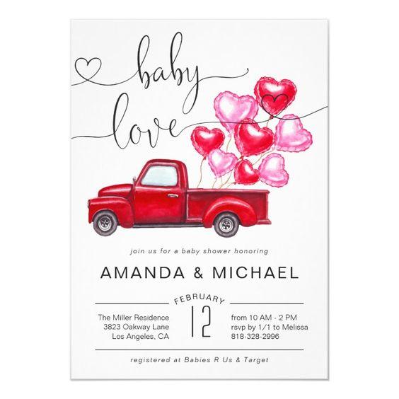valentines day baby shower car balloon invite