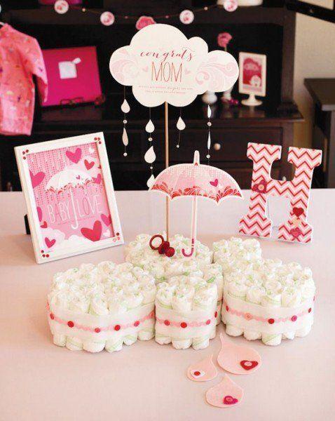 valentines day baby shower mini diaper cake
