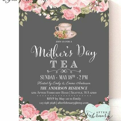 mothers day baby shower pink roses invite
