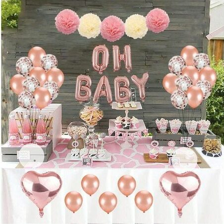 valentines day baby shower pink balloons