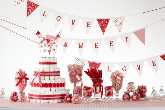 valentines day baby shower banner and diaper cake