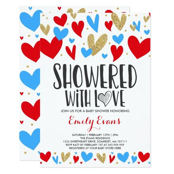 valentines day baby shower red and blue hearts invite