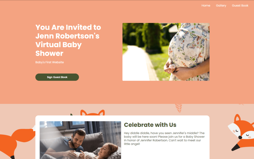 wbs homepage screengrab v2 foxes | WebBabyShower