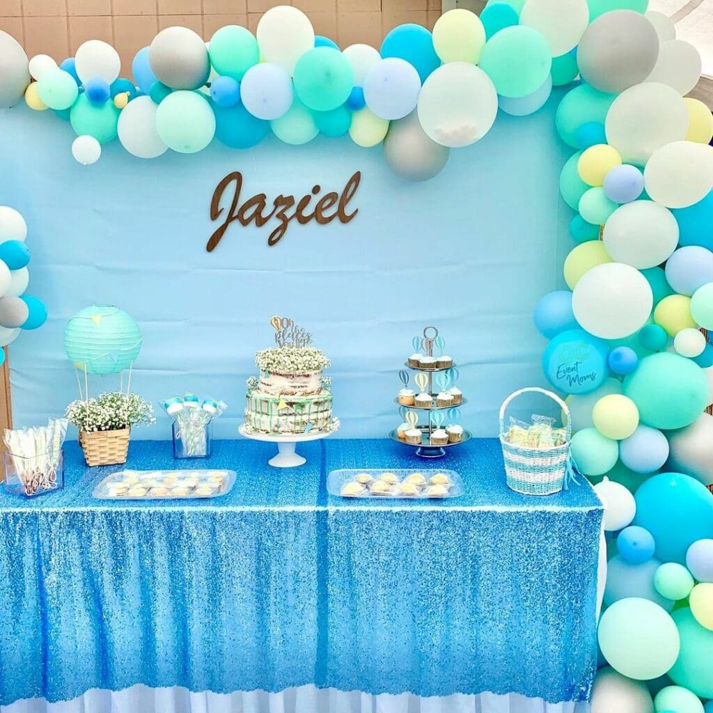 spring baby shower blue balloons