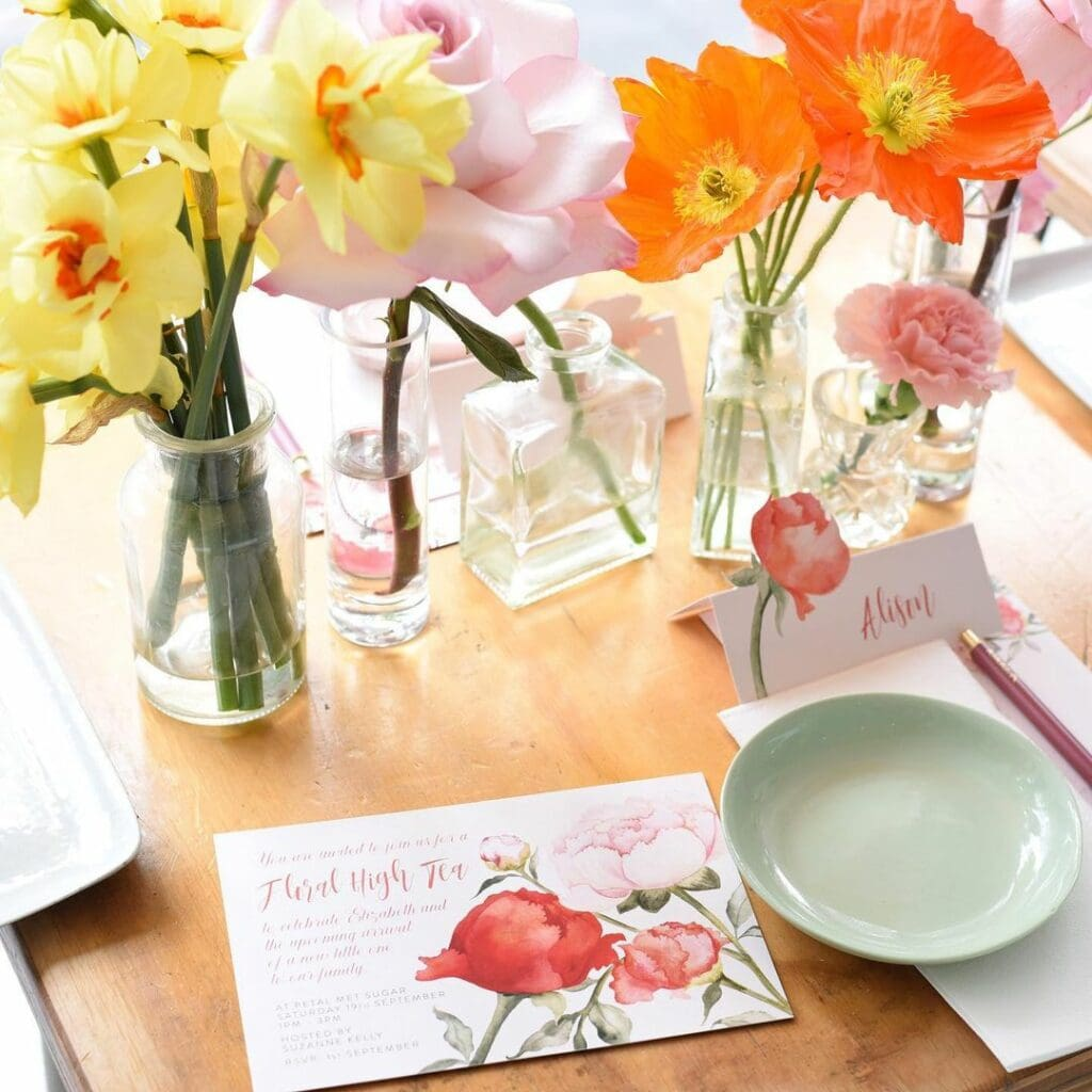 spring baby shower floral tea party
