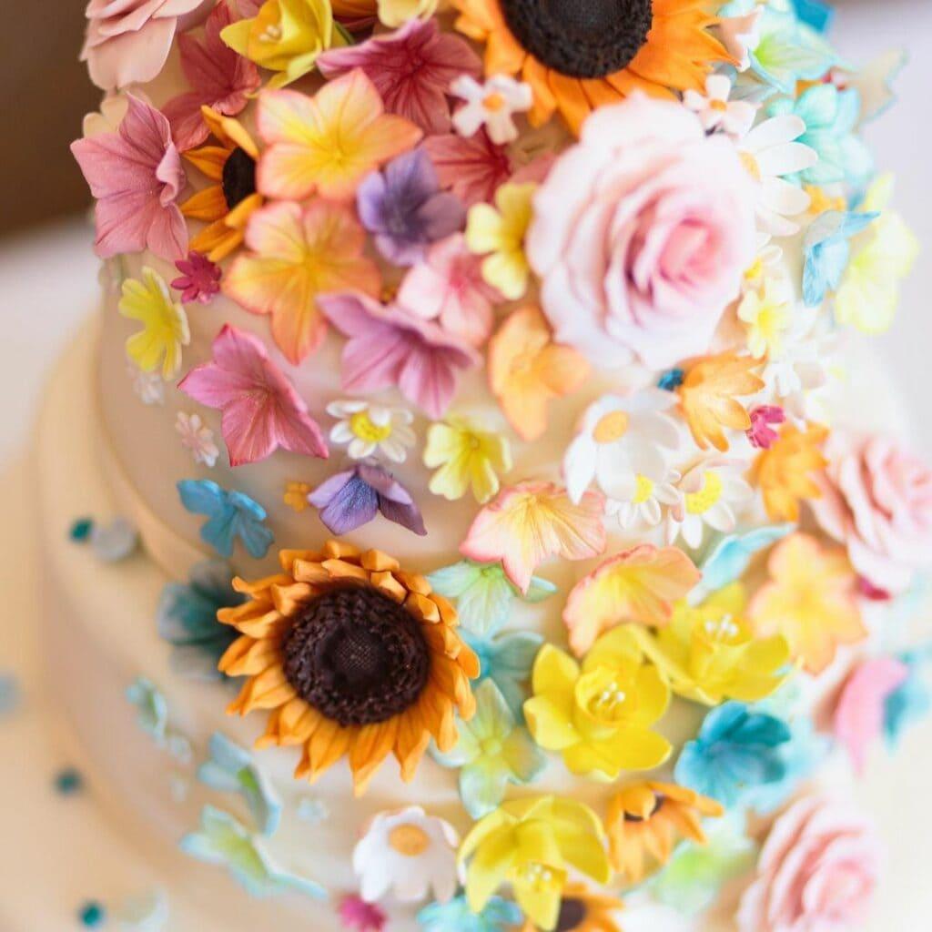 spring baby shower floral cake