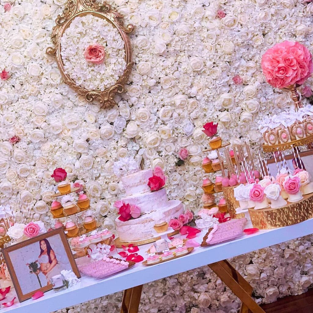 spring baby shower rose wall