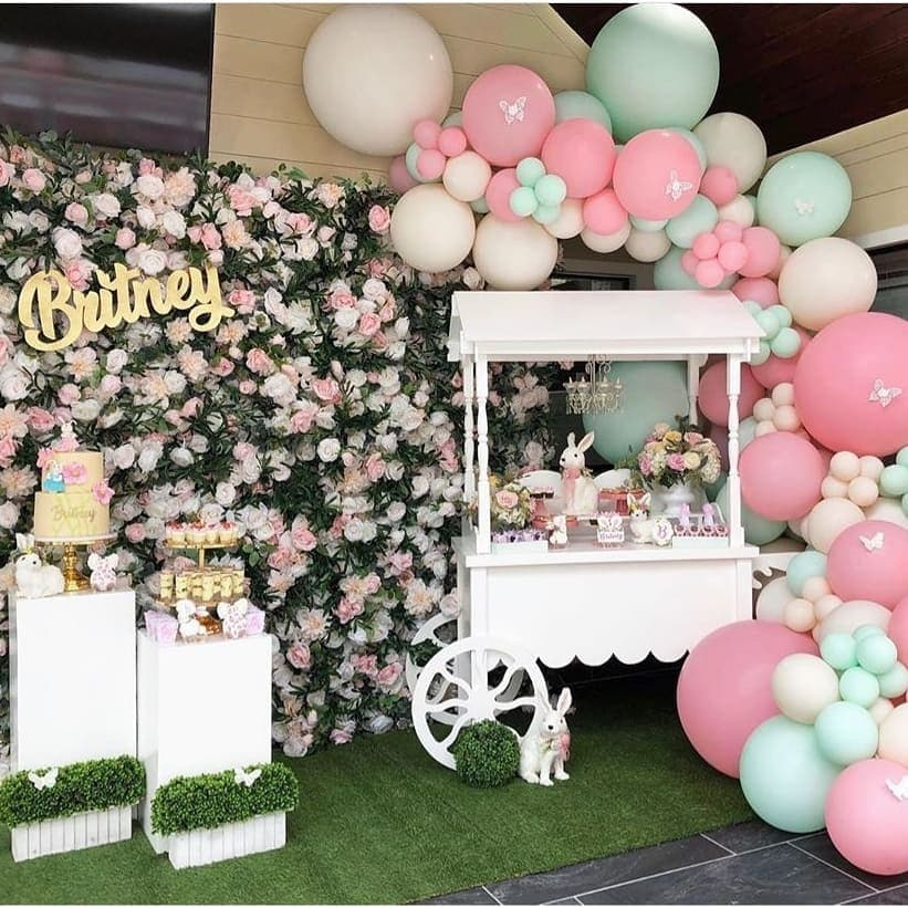 spring baby shower roses wall