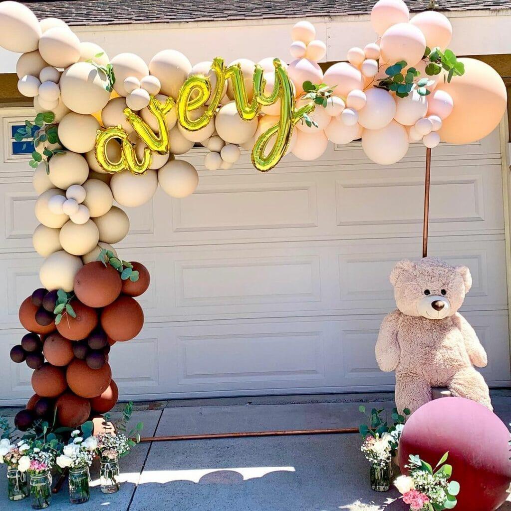 outdoor baby shower teddy bear