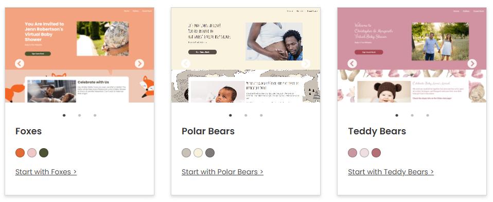 wbs theme foxes polar bunnies   WebBabyShower