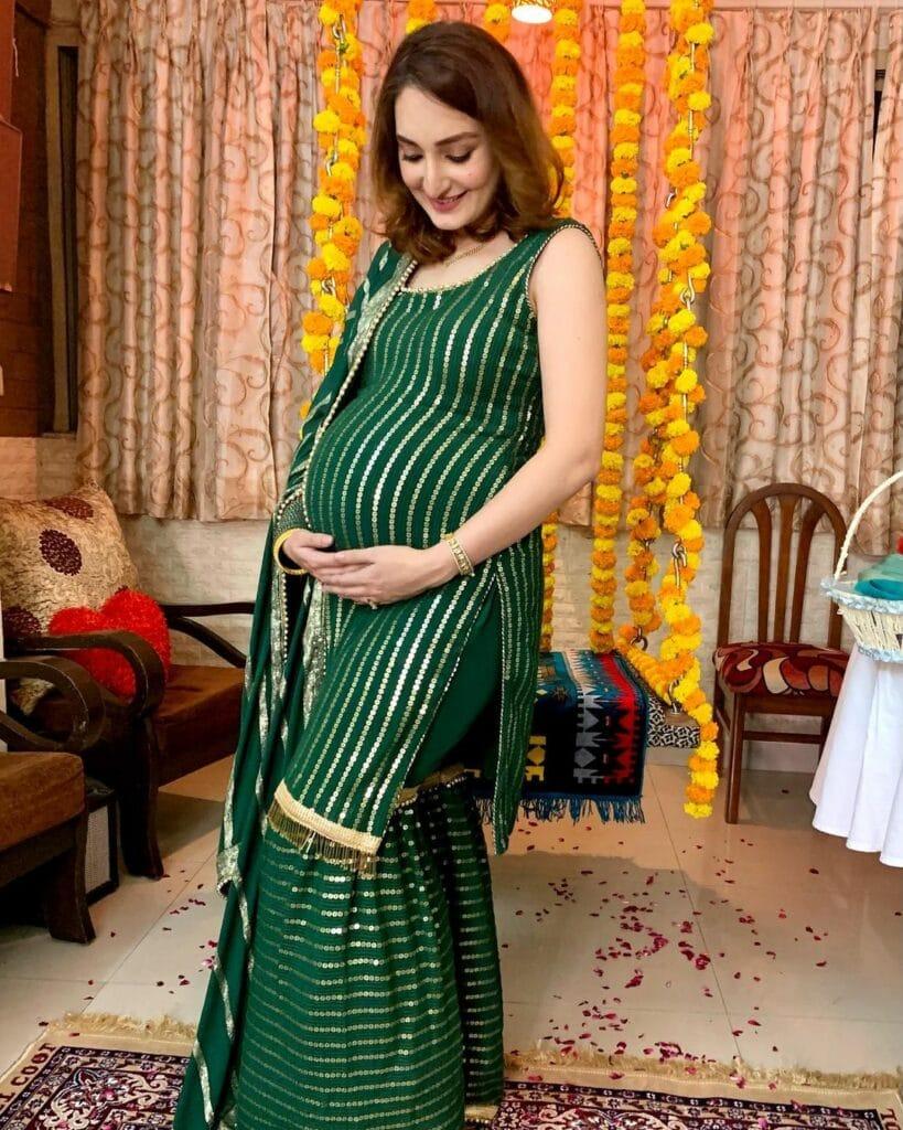 godh bharai baby shower sari