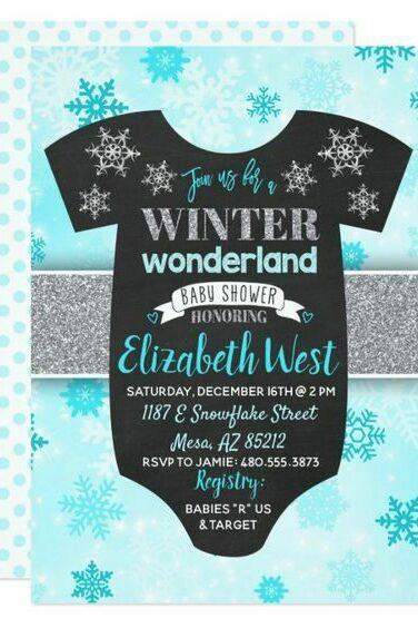 winter baby shower blue invite