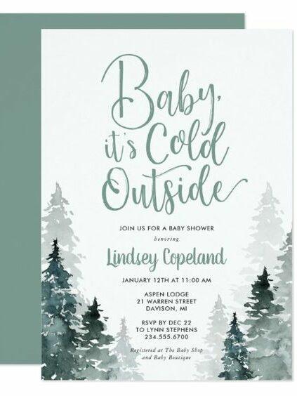 winter baby shower trees invite