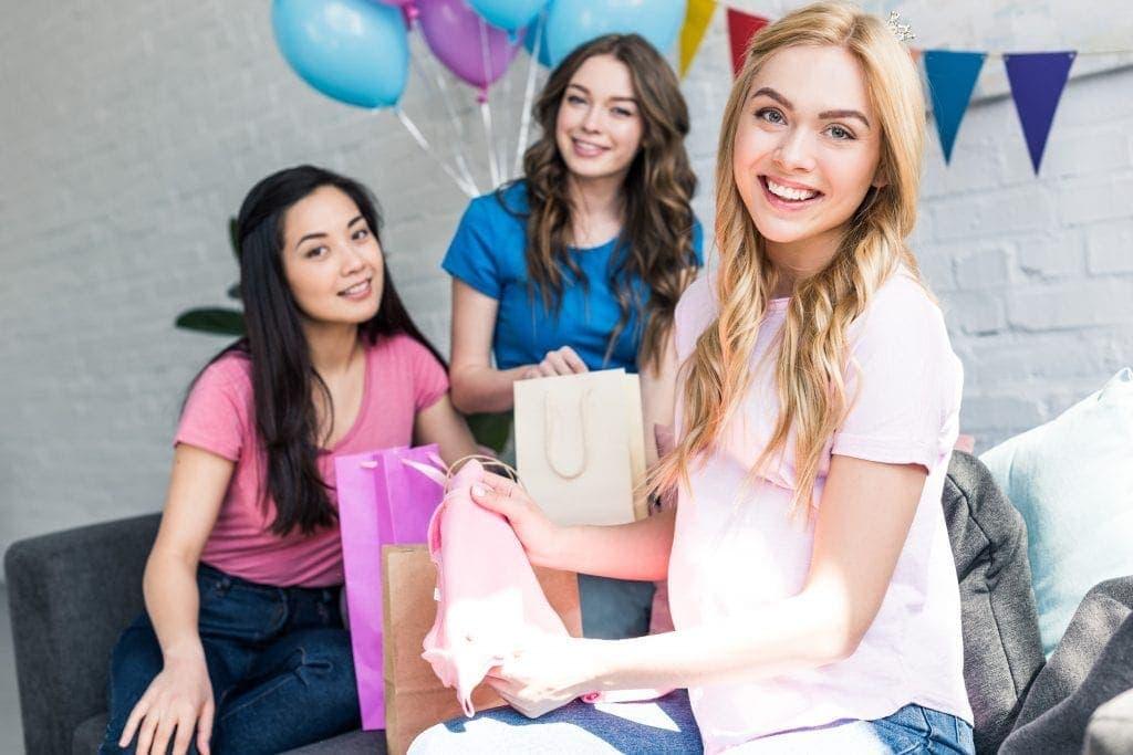 webbabyshower mom and friends opening gifts | WebBabyShower