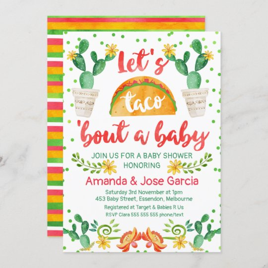 coed baby shower taco invite