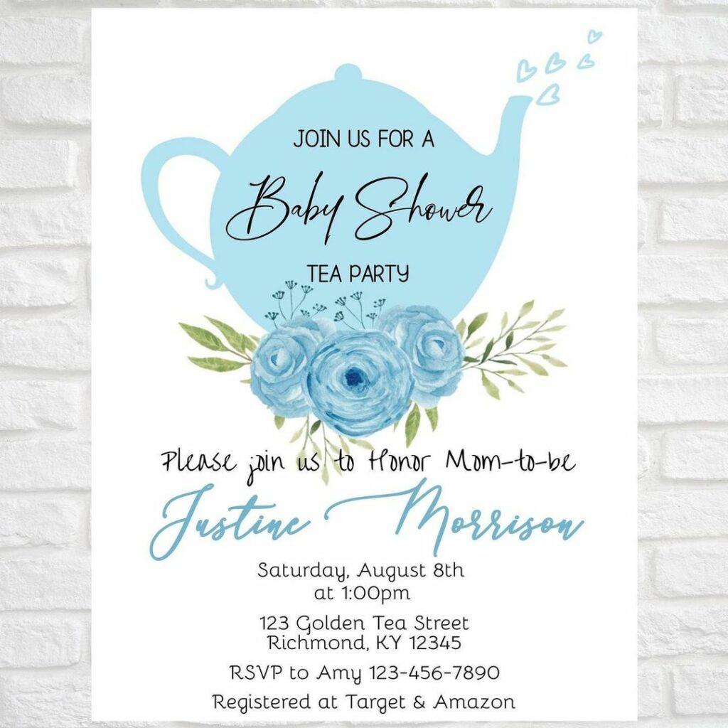 wbs tea baby shower invite blue | WebBabyShower