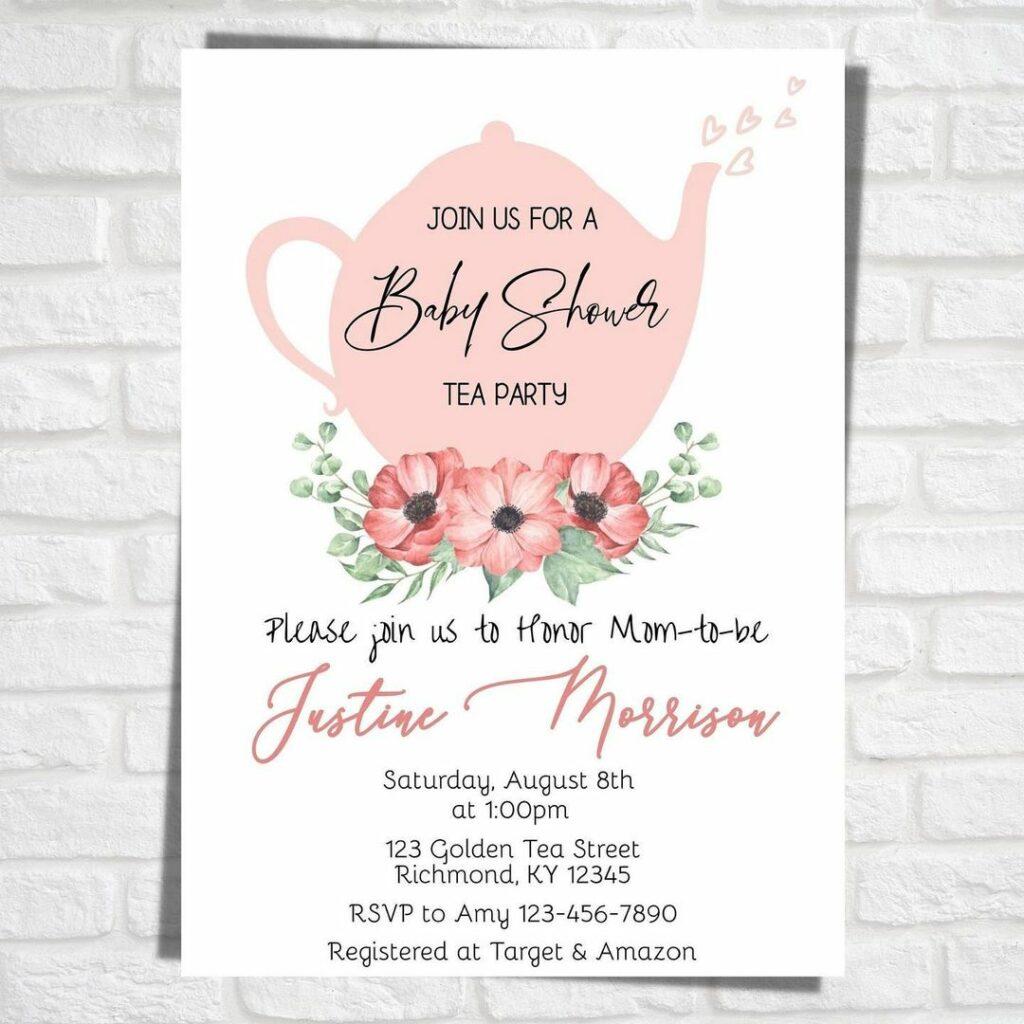 wbs tea baby shower invite pink | WebBabyShower