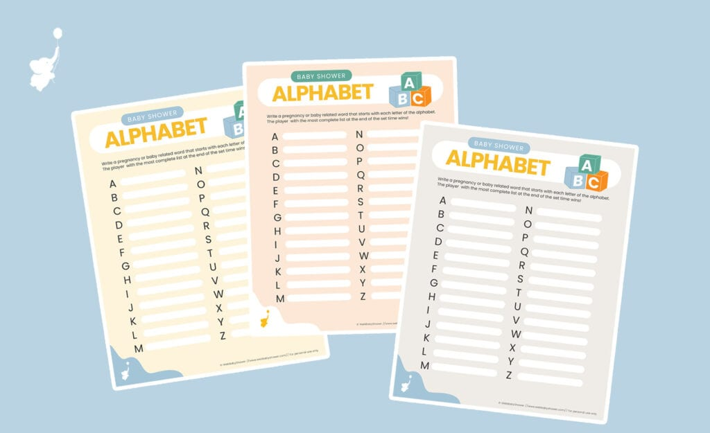baby shower alphabet game different colors