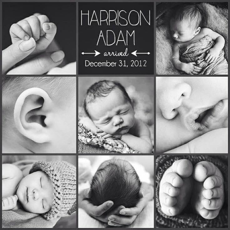 birth announcement black and white photo collage
