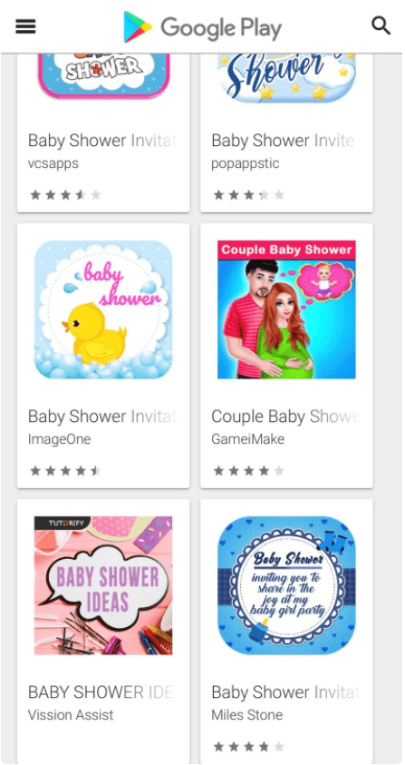 google play baby shower apps