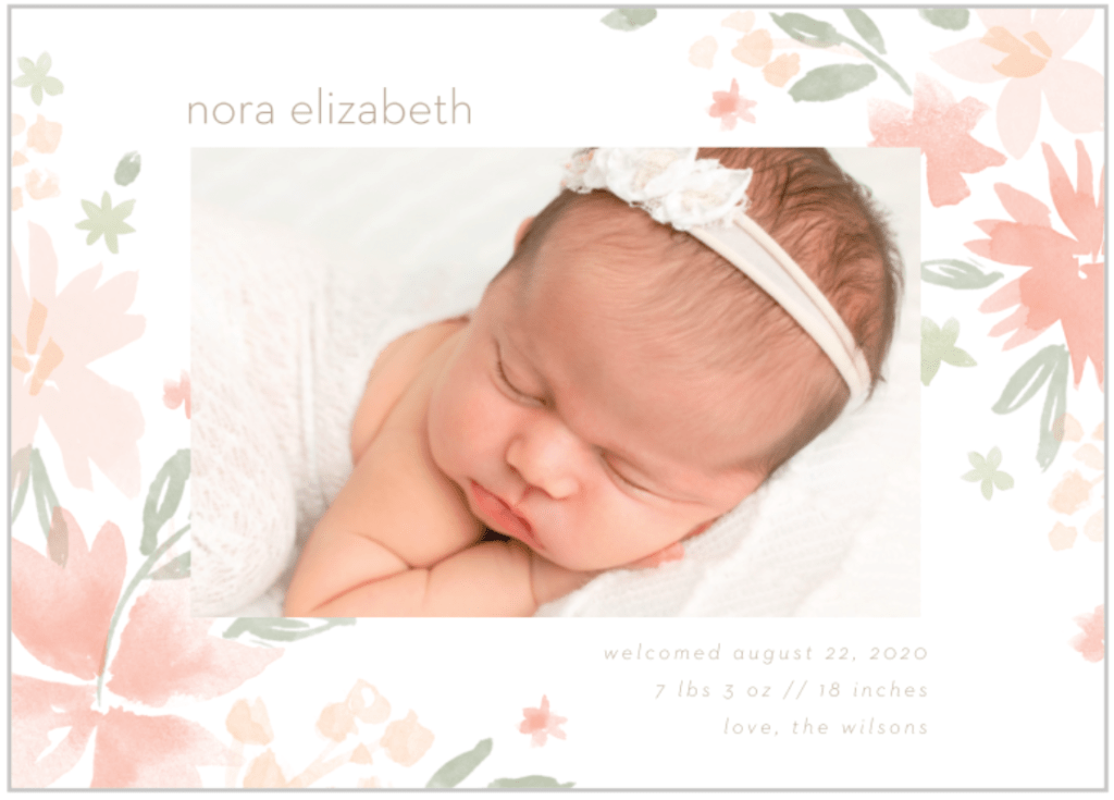 girl birth announcement floral