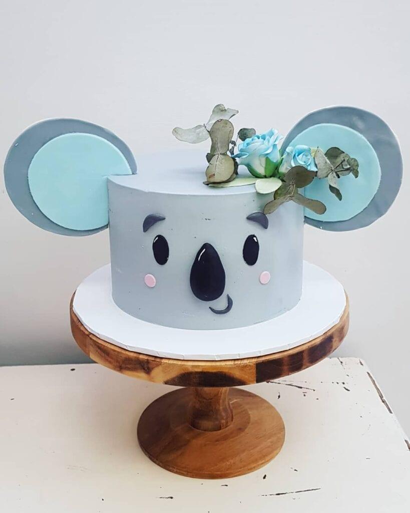 woodland baby shower koala theme cake