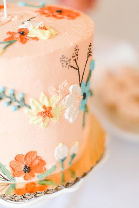 peach theme baby shower cake