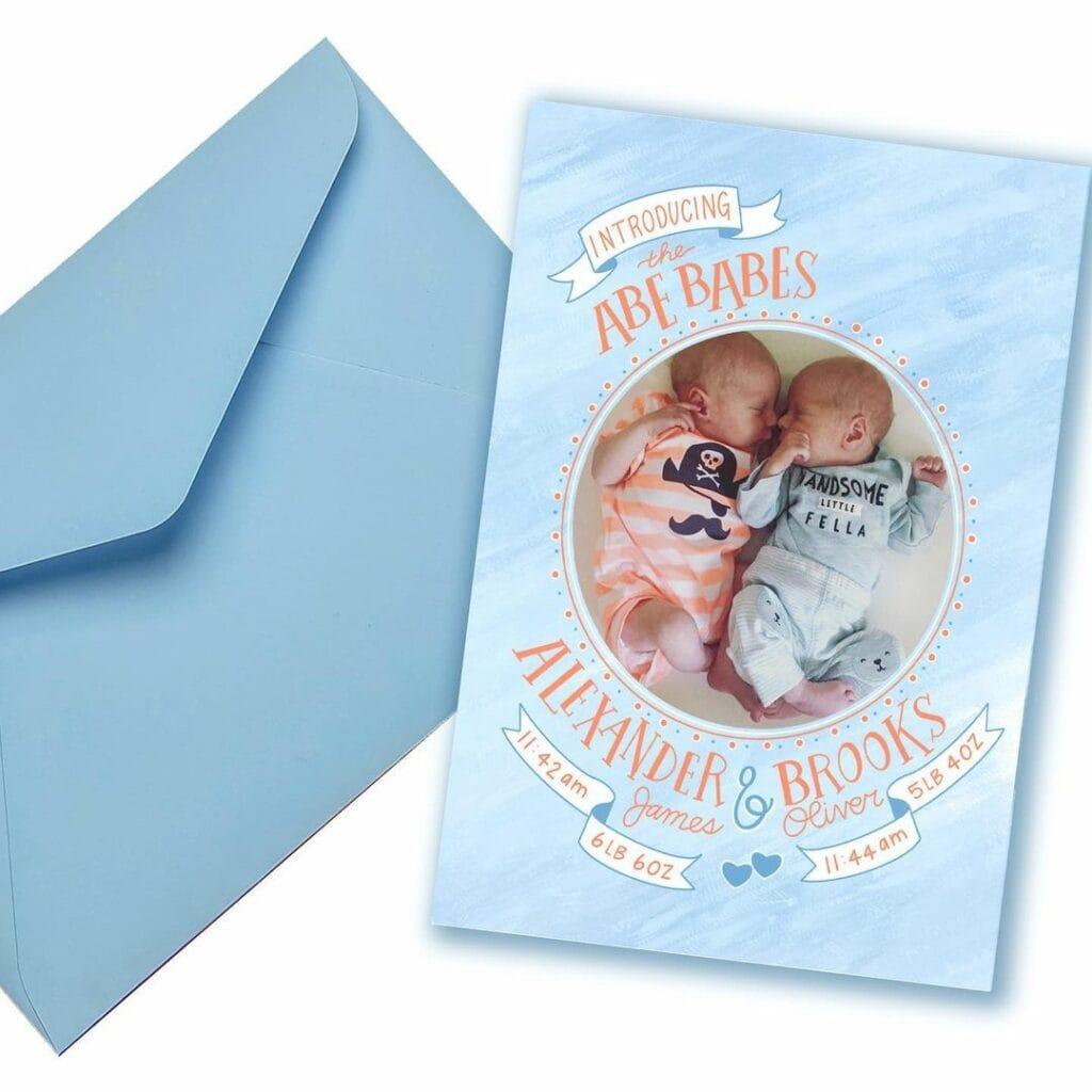 birth announcement twin blue