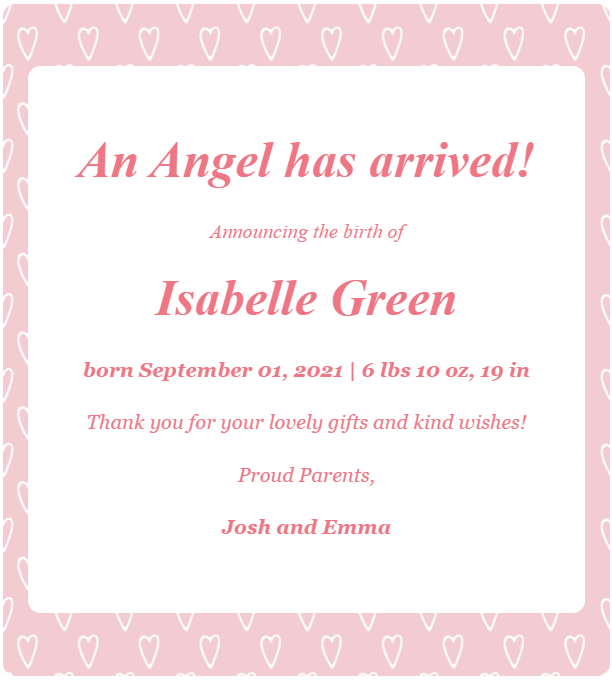 webbabyshower birth announcement email wording example