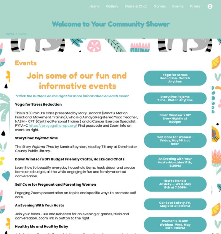 webbabyshower community shower events page