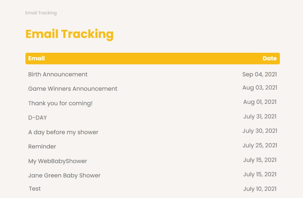 webbabyshower invite tracker